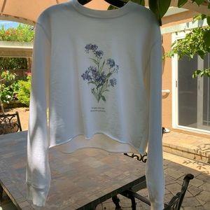 Brandy Melville 'Forget-me-not' White Sweatshirt